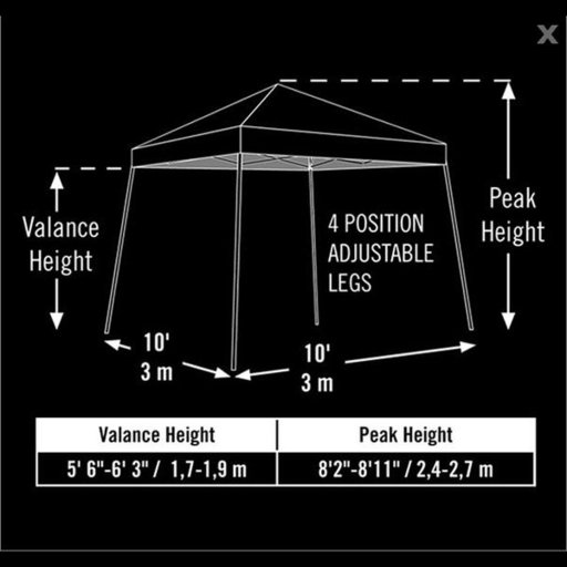View a Larger Image of 10 ft. x 10 ft. Sport Pop-up Canopy Slant Leg, Black Cover