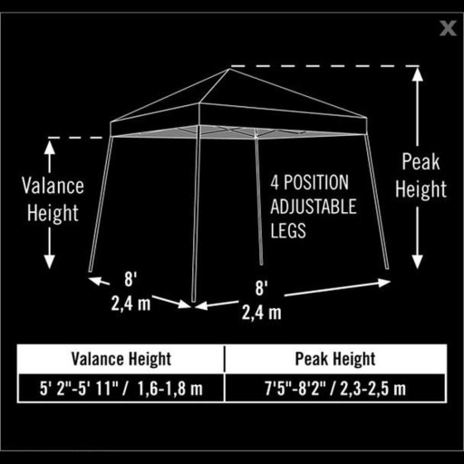 View a Larger Image of 8 ft. x 8 ft. Sport Pop-up Canopy Slant Leg, Black Cover