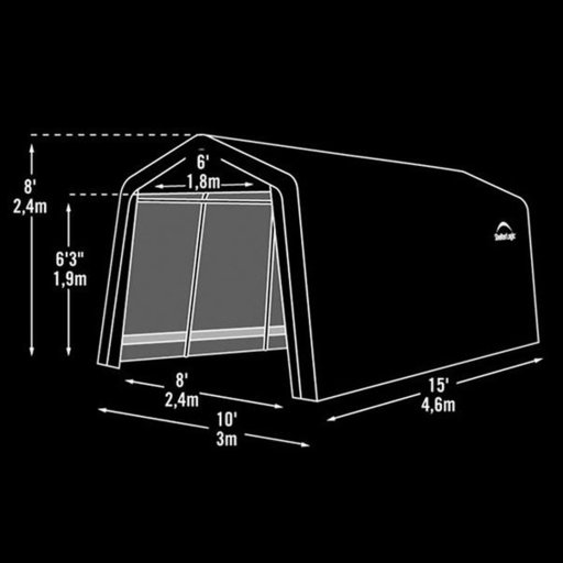 View a Larger Image of Auto Shelter, 10' x 15' x 8', Peak Style Instant Garage, Sandstone