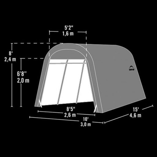 View a Larger Image of Auto Shelter 10' x 15' x 8' RoundTop Instant Garage, Sandstone