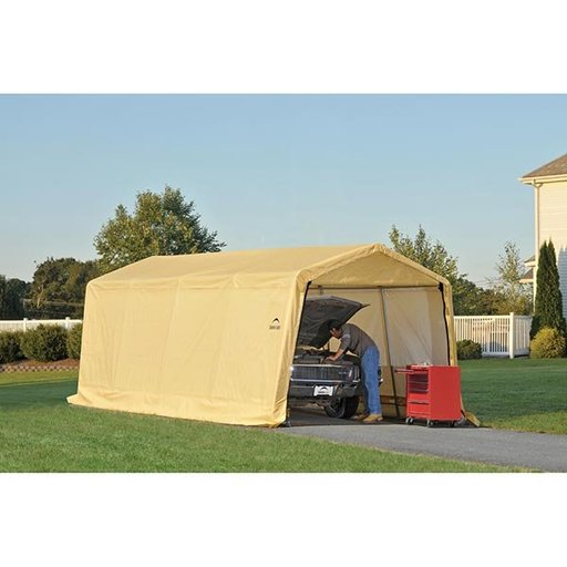 View a Larger Image of Auto Shelter, 10' x 20' x 8', Peak Style Instant Garage, Sandstone