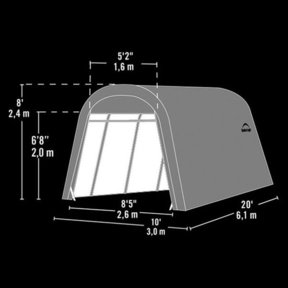 Auto Shelter, 10' x 20' x 8', RoundTop Style Instant Garage, Sandstone