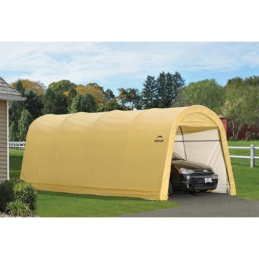 View a Larger Image of Auto Shelter, 10' x 20' x 8', RoundTop Style Instant Garage, Sandstone
