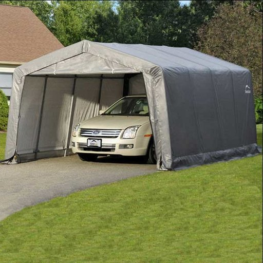 View a Larger Image of Garage-in-a-Box 12' x 16' x 8', Compact Peak Style, Gray