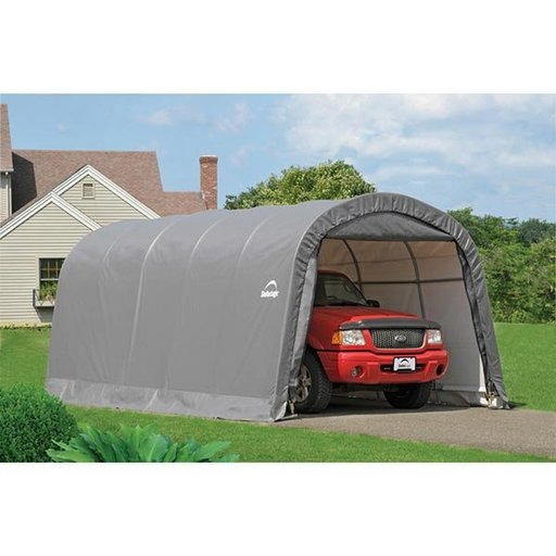 View a Larger Image of Garage-in-a-Box 12' x 20' x 8', RoundTop Style, Gray
