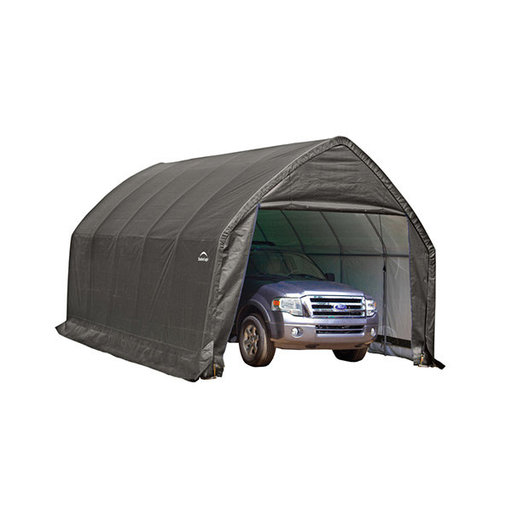 View a Larger Image of Garage-in-a-Box 13' x 20' x 12', Peak Style for SUV/Truck, Gray