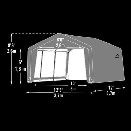 View a Larger Image of Shed-in-a-Box 12' x 12' x 8' Peak Style, Gray
