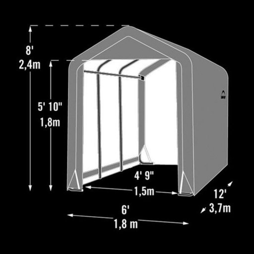 View a Larger Image of Shed-in-a-Box 6' x 12' x 8', Peak Style, Gray