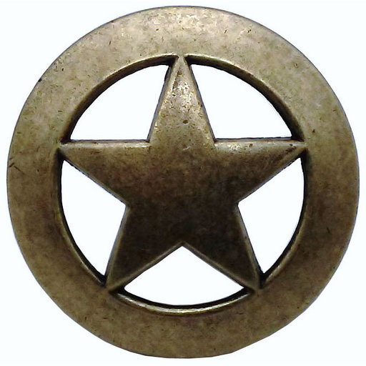 View a Larger Image of Sheriff Star Knob, Brass Oxide