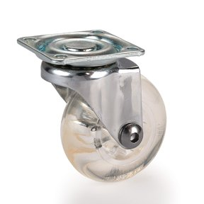 Skate Wheel Caster with Rounded Wheel, Translucent, Non-Brake, 2""