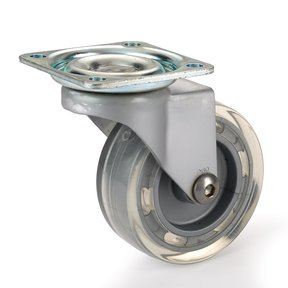 Skate Wheel Casters with Flat Tread Wheel, Translucent, Non-Brake, 2-1/2""