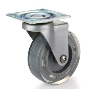 Skate Wheel Casters with Flat Tread Wheel, Translucent, Non-Brake, 3""