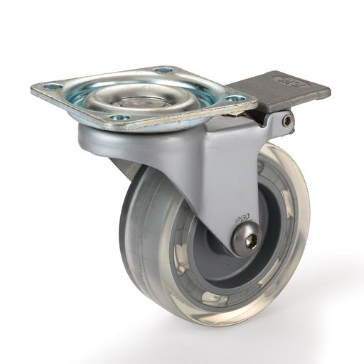 """View a Larger Image of 2-1/2"""" Skate Wheel Casters with Flat Tread Wheel, Translucent, Toe-Action Brake"""
