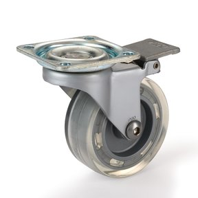 "2-1/2"" Skate Wheel Casters with Flat Tread Wheel, Translucent, Toe-Action Brake"