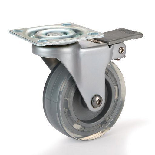 "View a Larger Image of 3"" Skate Wheel Casters with Flat Tread Wheel, Translucent, Toe-Action Brake"