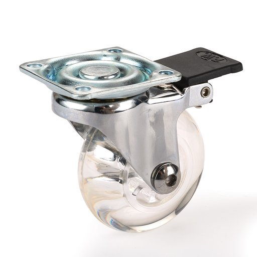 View a Larger Image of Skate Wheel Casters with Rounded Wheel, Translucent, Toe-Action Brake, 2""