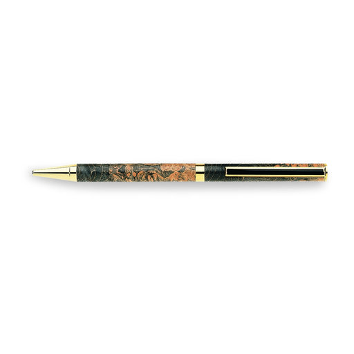 View a Larger Image of 7mm Slim Style Black Strip Clip Ballpoint Pen Kit - Cobalt Gold