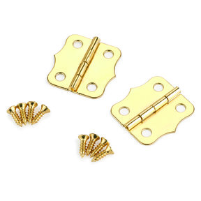 Small Box Hinge Brass Plated 24 mm x 24 mm Pair