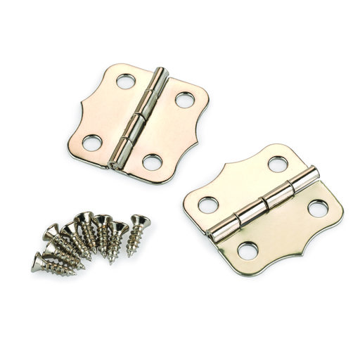View a Larger Image of Small Box Hinge Nickel Plated 24 mm x 24 mm Pair