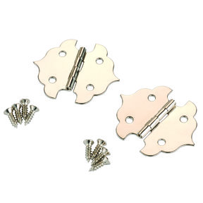 Small Box Hinge Nickel Plated 34 mm x 29 mm Pair