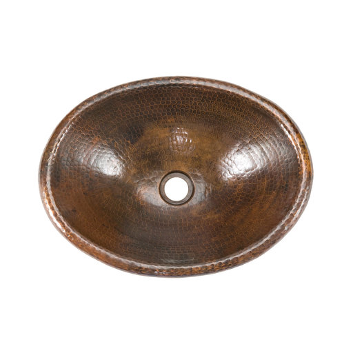 View a Larger Image of Small Oval Self Rimming Hammered Copper Sink