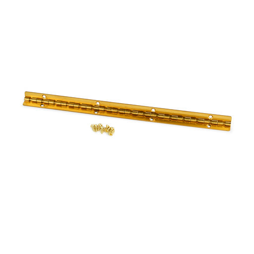 View a Larger Image of Small Piano Stop Hinge Brass Plated 200mm x 9mm