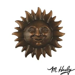 Smiling Sunface Door Knocker, Oiled Bronze
