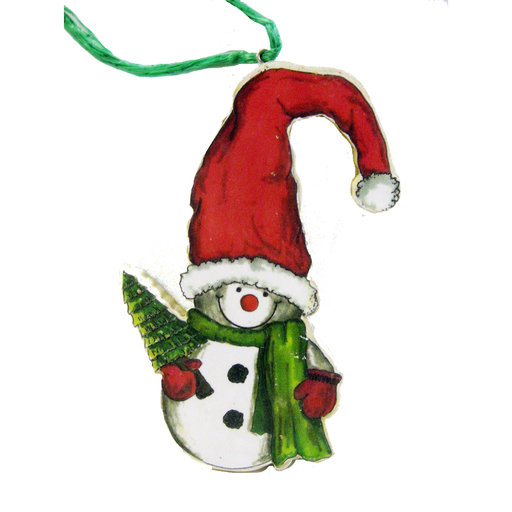 View a Larger Image of Snowman in Santa Hat Woodworking Pattern and Picture