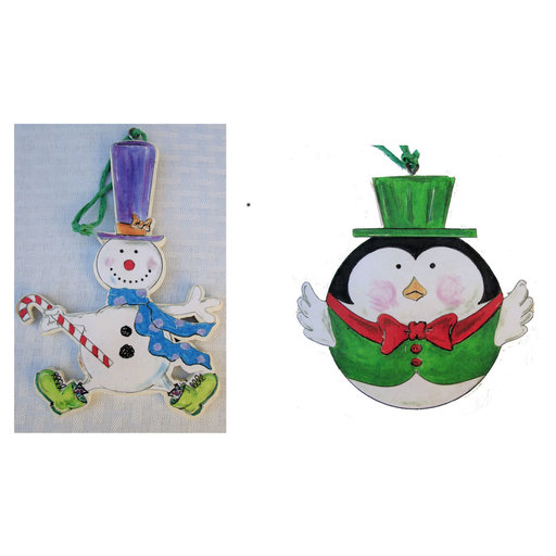 View a Larger Image of Snowman & Penguin Ornaments  Woodworking Pattern and Picture