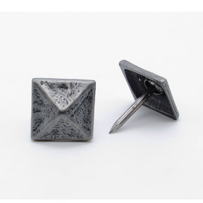 "Square 3/4"" Pyramid Clavo Decorative Nail, 4-Pack, Pewter Oxide"