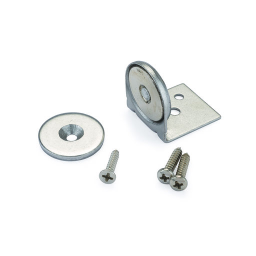 "View a Larger Image of Stainless Steel Magnetic Latch with Bracket 1"" Dia 40 lbs Holding Strength"