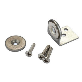 "Stainless Steel Magnetic Latch with Bracket 3/4"" Dia 20 lbs Holding Strength"