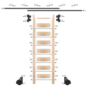 Standard Rolling 8-Foot Maple Ladder Kit with 12-Foot Rail and Horizontal Brackets, Black