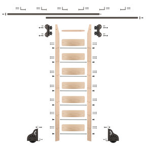 Standard Rolling 8-Foot Maple Ladder Kit with 12-Foot Rail and Horizontal Brackets, Bronze