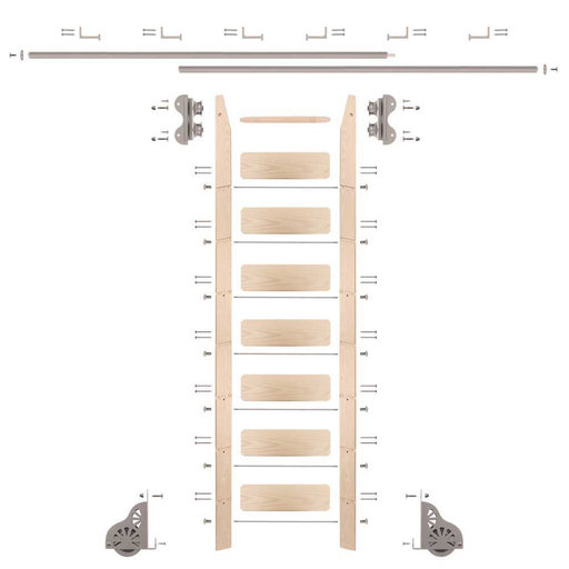 View a Larger Image of Standard Rolling 8-Foot Maple Ladder Kit with 12-Foot Rail and Horizontal Brackets, Satin Nickel