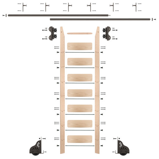View a Larger Image of Standard Rolling 8-Foot Maple Ladder Kit with 12-Foot Rail and Vertical Brackets, Bronze