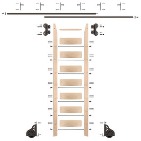 Standard Rolling 8-Foot Maple Ladder Kit with 12-Foot Rail and Vertical Brackets, Bronze