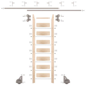 Standard Rolling 8-Foot Maple Ladder Kit with 12-Foot Rail and Vertical Brackets, Satin Nickel