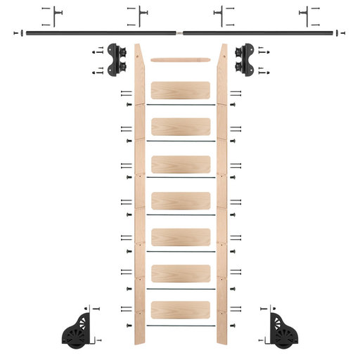 View a Larger Image of Standard Rolling 8-Foot Maple Ladder Kit with 8-Foot Rail and Vertical Brackets, Black