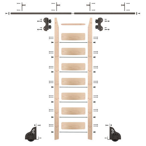 View a Larger Image of Standard Rolling 8-Foot Maple Ladder Kit with 8-Foot Rail and Vertical Brackets, Bronze