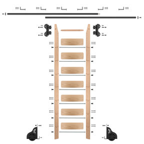 Standard Rolling 8-Foot Red Oak Ladder Kit with 12-Foot Rail and Horizontal Brackets, Black