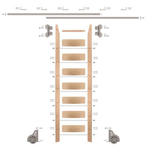 Standard Rolling 8-Foot Red Oak Ladder Kit with 12-Foot Rail and Horizontal Brackets, Satin Nickel