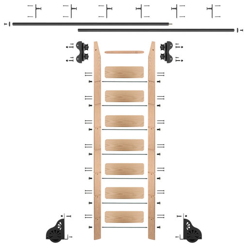 View a Larger Image of Standard Rolling 8-Foot Red Oak Ladder Kit with 12-Foot Rail and Vertical Brackets, Black