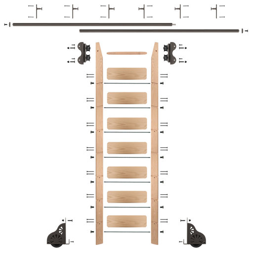 View a Larger Image of Standard Rolling 8-Foot Red Oak Ladder Kit with 12-Foot Rail and Vertical Brackets, Bronze
