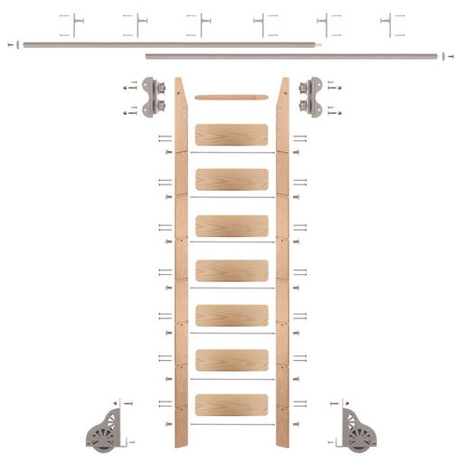 View a Larger Image of Standard Rolling 8-Foot Red Oak Ladder Kit with 12-Foot Rail and Vertical Brackets, Satin Nickel