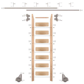 Standard Rolling 8-Foot Red Oak Ladder Kit with 12-Foot Rail and Vertical Brackets, Satin Nickel