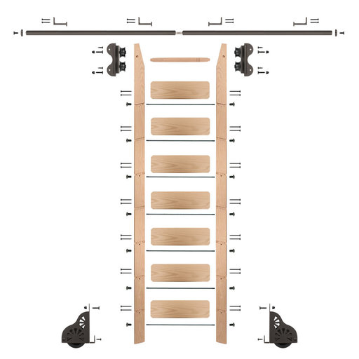View a Larger Image of Standard Rolling 8-Foot Red Oak Ladder Kit with 8-Foot Rail and Horizontal Brackets, Bronze