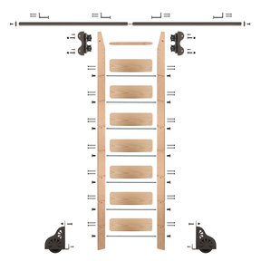 Standard Rolling 8-Foot Red Oak Ladder Kit with 8-Foot Rail and Horizontal Brackets, Bronze