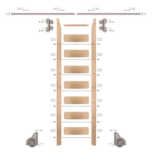 View a Larger Image of Standard Rolling 8-Foot Red Oak Ladder Kit with 8-Foot Rail and Horizontal Brackets, Satin Nickel