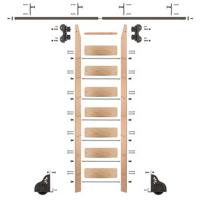 Standard Rolling 8-Foot Red Oak Ladder Kit with 8-Foot Rail and Vertical Brackets, Bronze